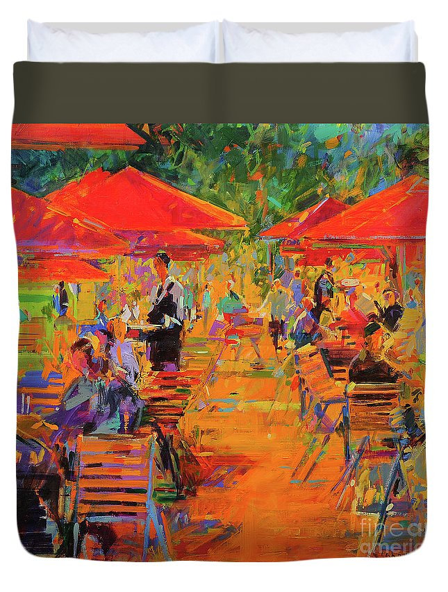 Restaurant Duvet Cover featuring the painting Le Jardin Des Tuileries by Peter Graham