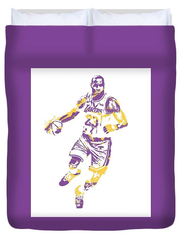Lebron James Duvet Cover featuring the mixed media Lebron James Los Angeles Lakers Pixel Art 3 by Joe Hamilton