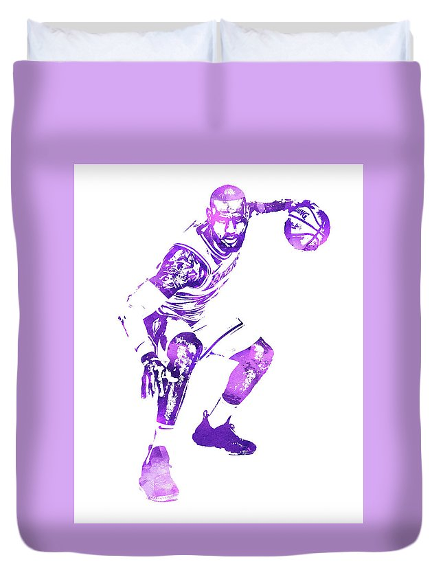 0258965a407 Lebron James Duvet Cover featuring the mixed media Lebron James Los Angeles  Lakers Water Color Pixel