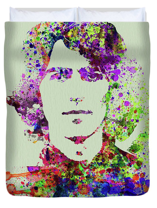 Beatles Duvet Cover featuring the mixed media Legendary George Harrison Watercolor II by Naxart Studio