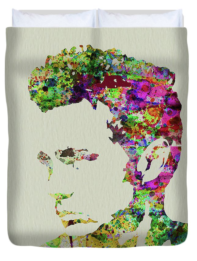 James Dean Duvet Cover featuring the mixed media Legendary James Dean Watercolor by Naxart Studio