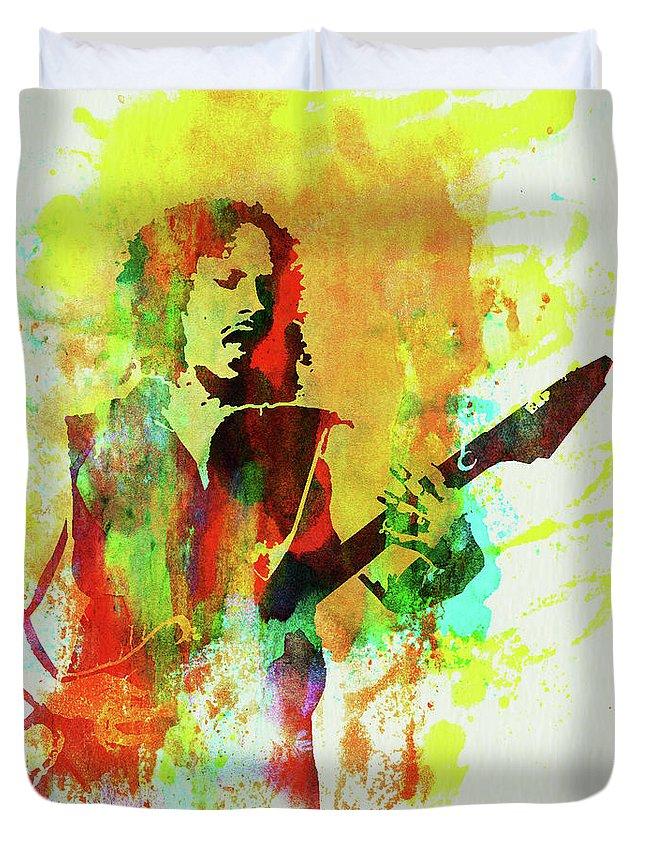 Kirk Hammett Duvet Cover featuring the mixed media Legendary Kirk Hammett Watercolor by Naxart Studio