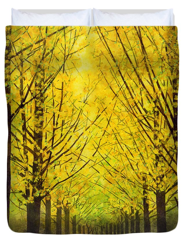 Yellow Duvet Cover featuring the painting Lemon Grove by Hailey E Herrera