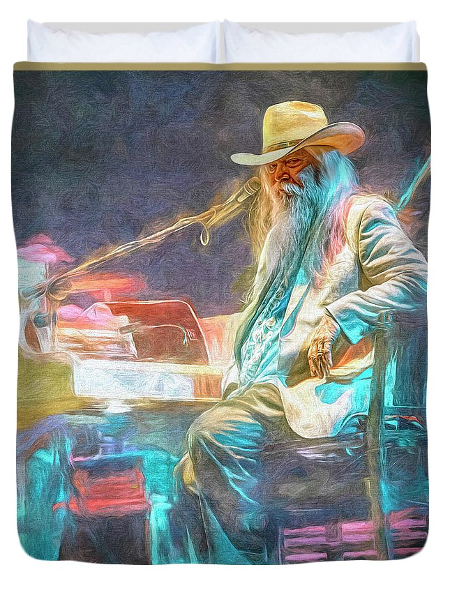 Leon Russell Duvet Cover featuring the mixed media Leon Russell by Mal Bray