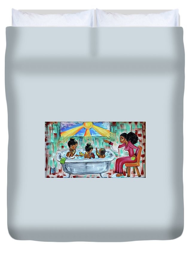 Mother Duvet Cover featuring the painting Lessons From Mommy by Artist RiA