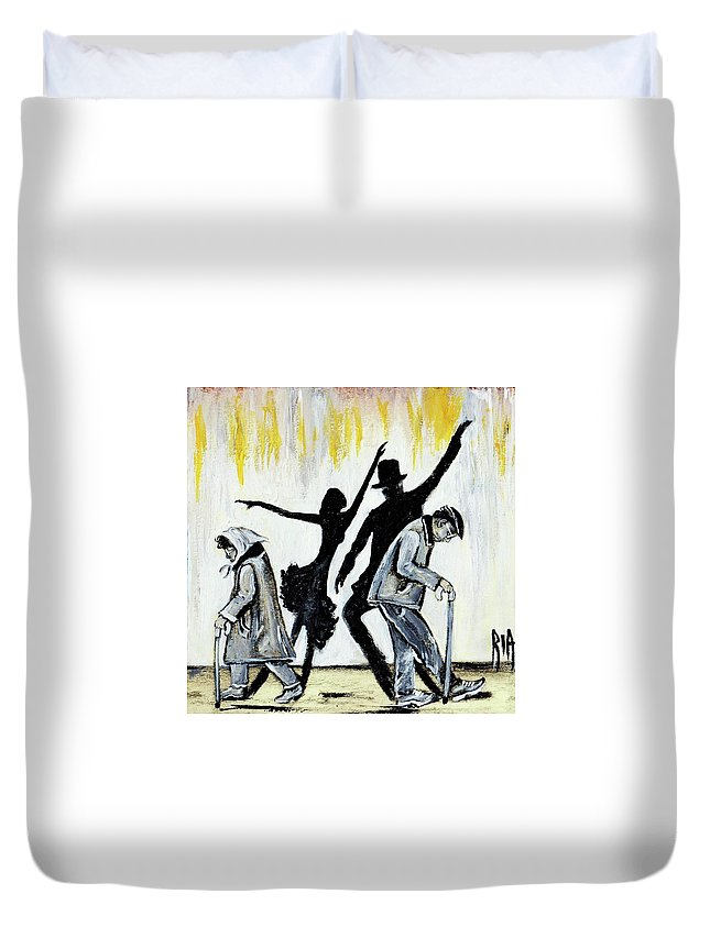Love Duvet Cover featuring the painting Lets Get Back To THIS by Artist RiA