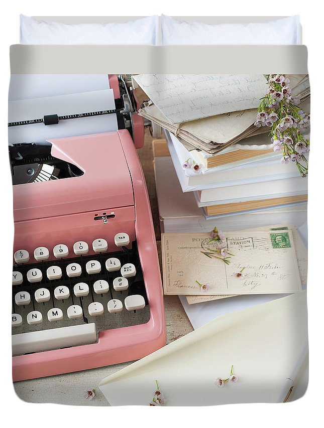 Office Duvet Cover featuring the photograph Letters By Antique Typewriter by Tetra Images