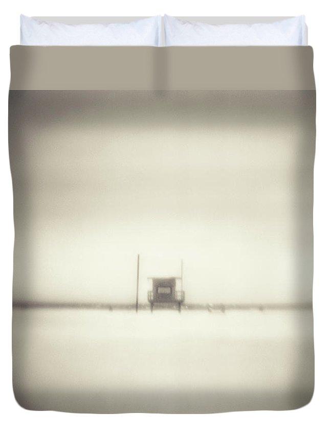 California Duvet Cover featuring the photograph Lifeguard Hut On Santa Monica Beach by Alan Horsager