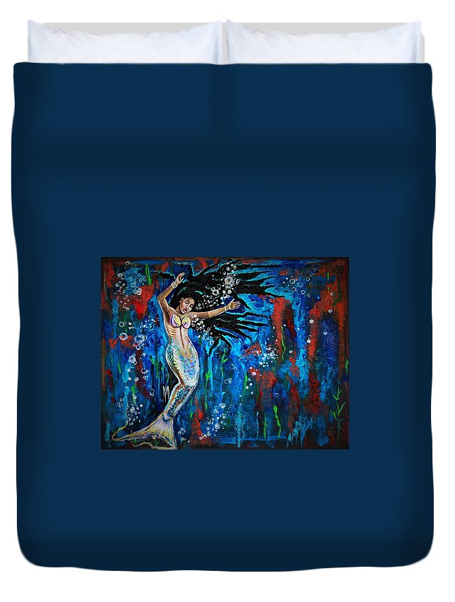 Mermaid Duvet Cover featuring the painting Lifes Strong Currents by Artist RiA