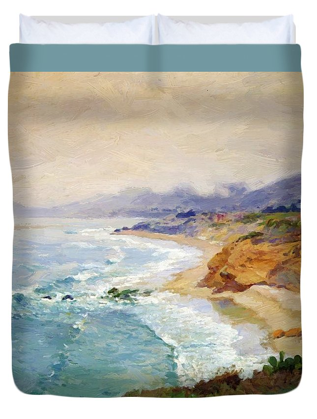 Lifting Duvet Cover featuring the painting Lifting Fog Laguna by Guy Rose