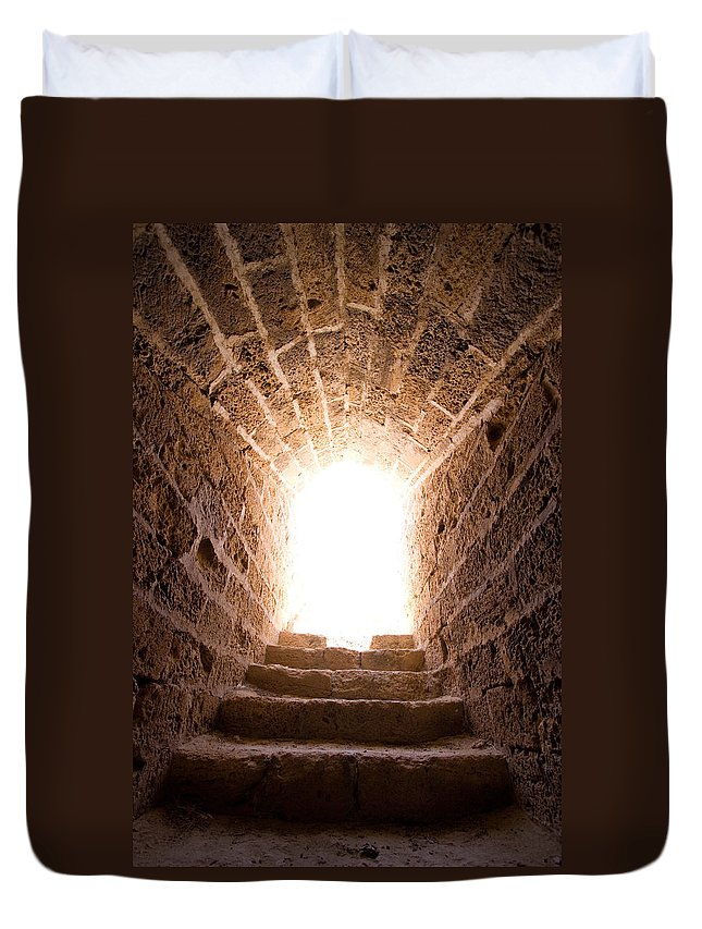 Steps Duvet Cover featuring the photograph Light At End Of The Tunnel by Kreicher