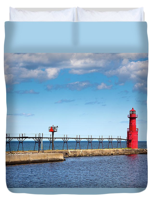Lake Michigan Duvet Cover featuring the photograph Lighthouse And Pier On Lake Michigan by Jamesbrey