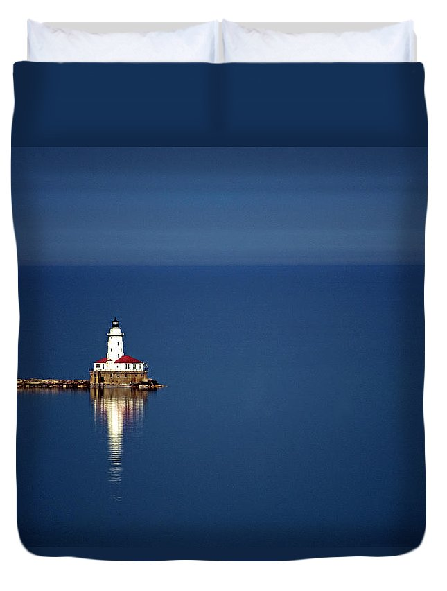 Outdoors Duvet Cover featuring the photograph Lighthouse On A Lake by By Ken Ilio