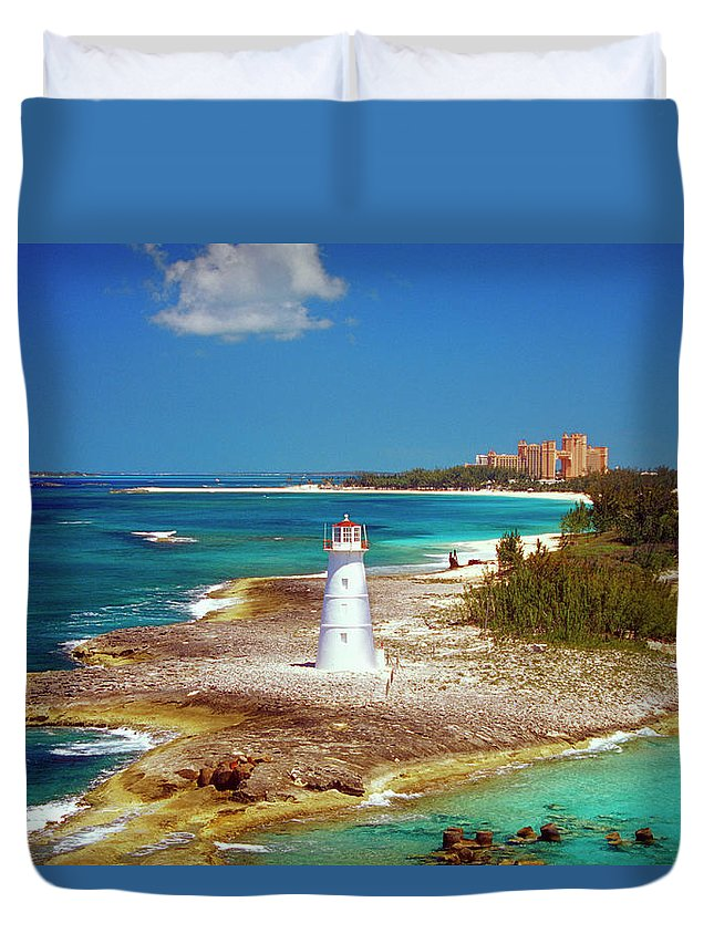 Outdoors Duvet Cover featuring the photograph Lighthouse On Paradise Island-nassau by Medioimages/photodisc