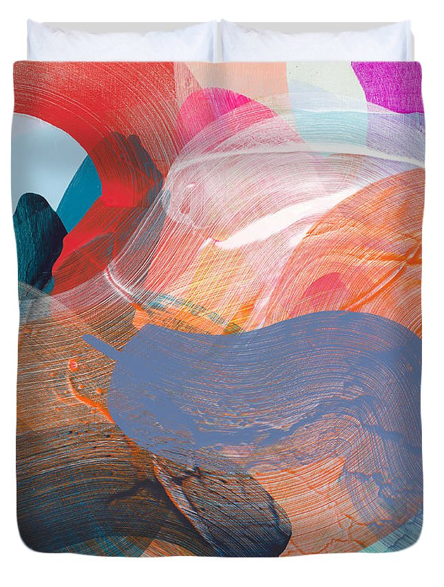Abstract Duvet Cover featuring the painting Like A Gypsy by Claire Desjardins