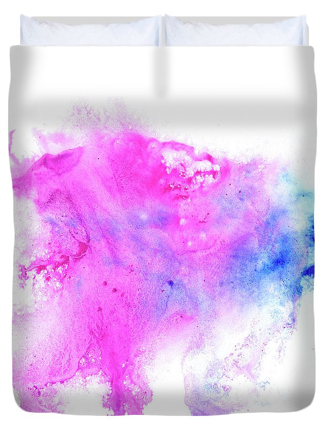 Art Duvet Cover featuring the digital art Lilac Blot by Pobytov