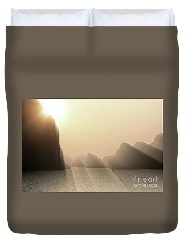 Vietnam Duvet Cover featuring the photograph Limestone Sun Rays Ha Long Bay Vietnam by Chuck Kuhn