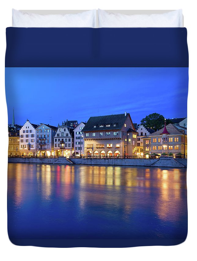 Zurich Duvet Cover featuring the photograph Limmat River Waterfront In Downtown by Benedek