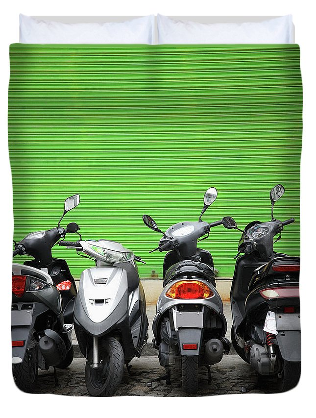 Macao Duvet Cover featuring the photograph Line Of Motorbikes Against Green by Steven Puetzer
