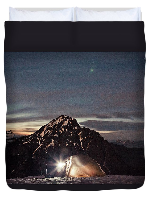 Camping Duvet Cover featuring the photograph Lit Tent At Night by Christopher Kimmel