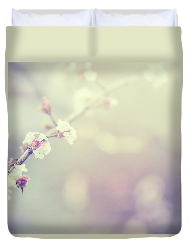 Silence Duvet Cover featuring the photograph Little Flowers In Winter by Rike