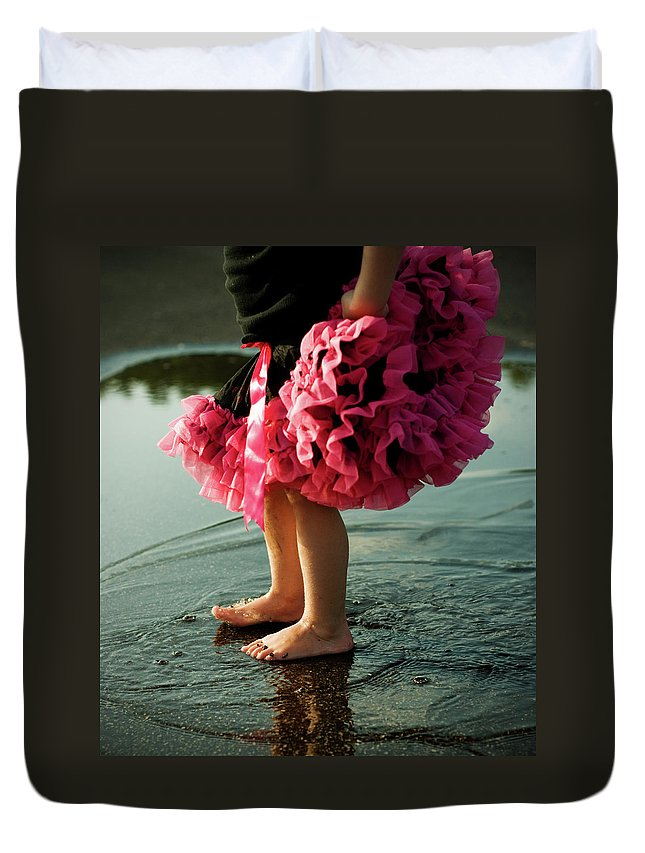 Toddler Duvet Cover featuring the photograph Little Girls Feet Splashing And Dancing by Ssj414