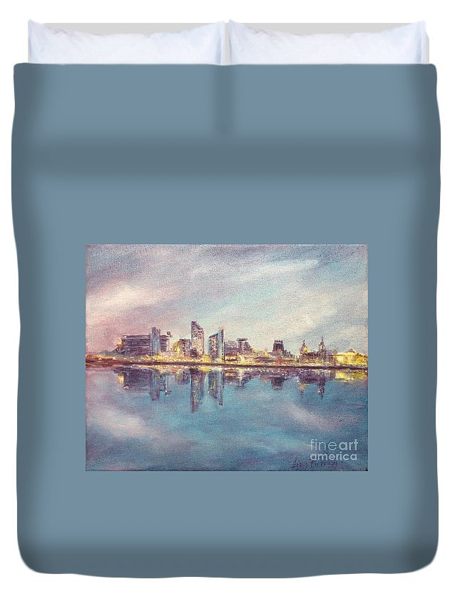 Liverpool Duvet Cover featuring the painting Liverpool Skyline 1 by Lizzy Forrester
