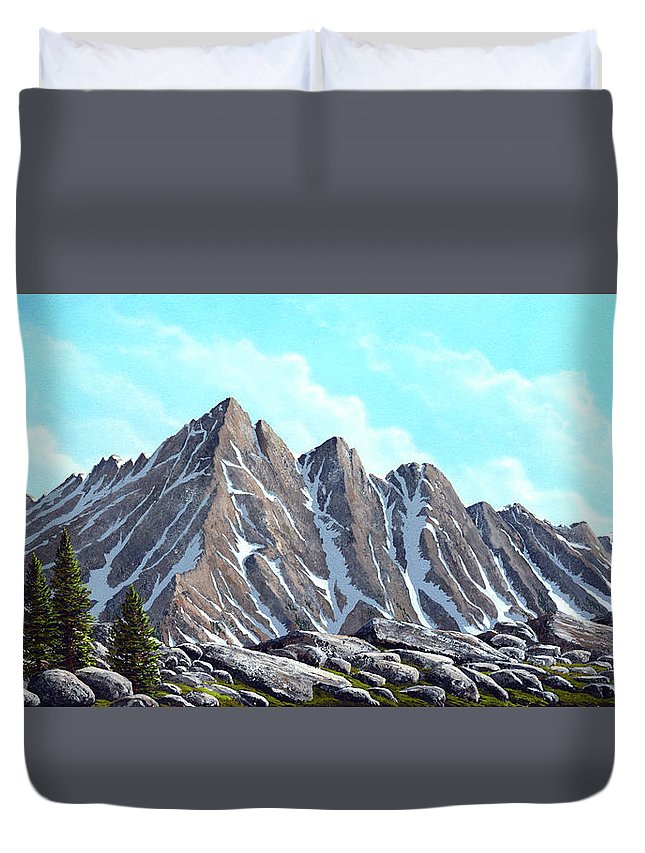 Landscape Duvet Cover featuring the painting Lofty Peaks by Frank Wilson