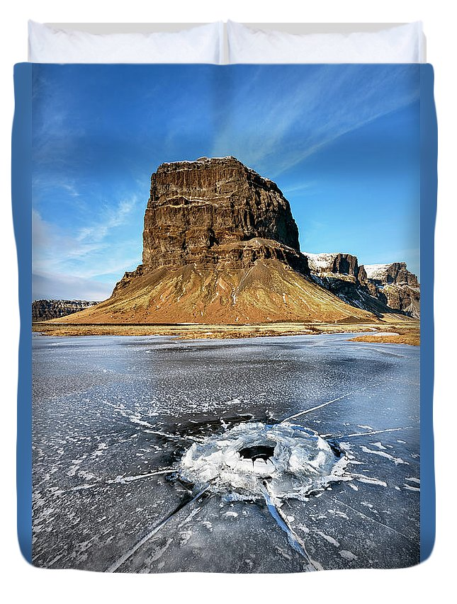 Joan Carroll Duvet Cover featuring the photograph Lomagnupur Mountain Iceland by Joan Carroll