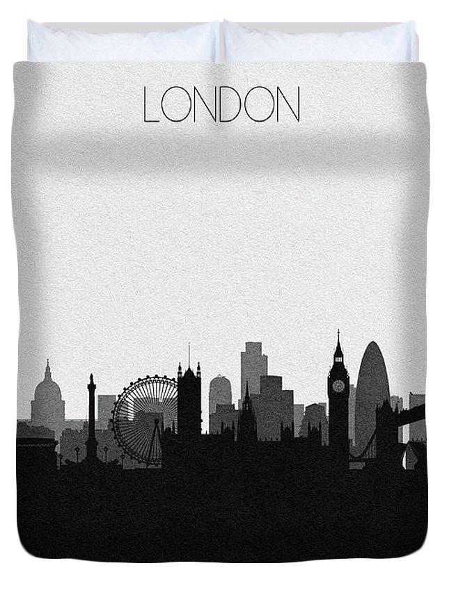London Duvet Cover featuring the digital art London Cityscape Art by Inspirowl Design