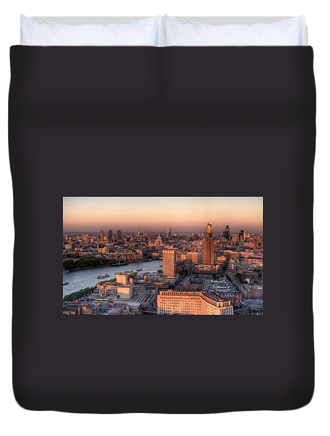 Cityscape Duvet Cover featuring the photograph London Cityscape At Sunset by Michael Lee