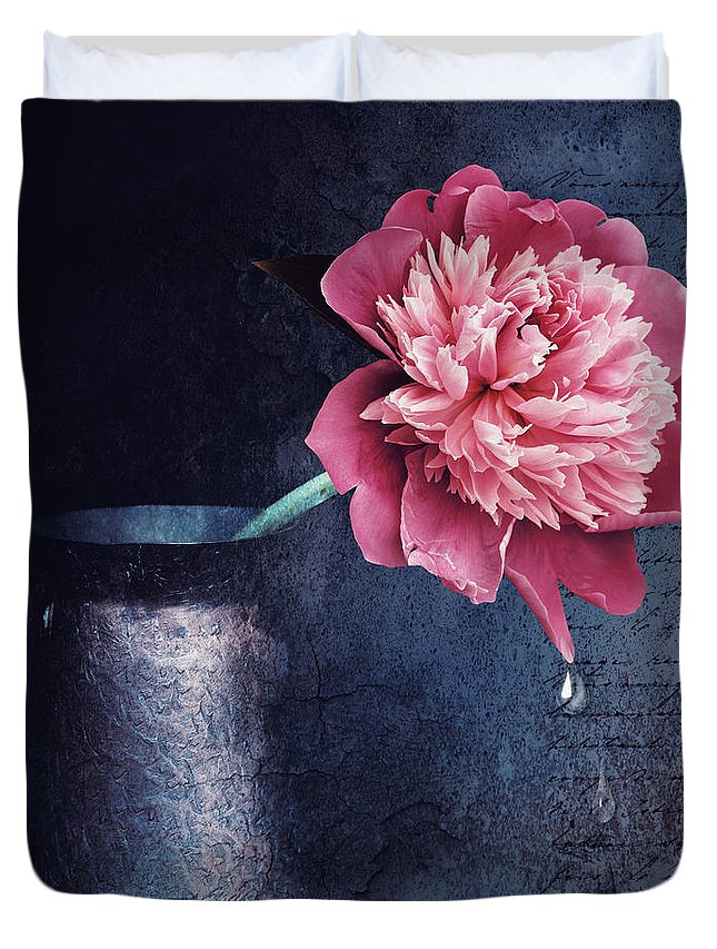 Peony Duvet Cover featuring the digital art Lonely Peony by Mihaela Pater