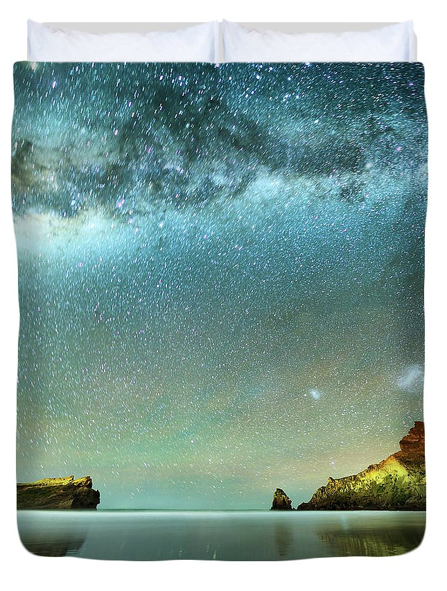 Galaxy Duvet Cover featuring the photograph Long Exposure Of Stars by Piskunov