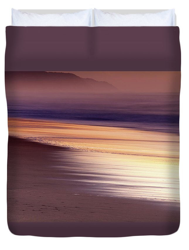 Tranquility Duvet Cover featuring the photograph Long Exposure Of Water At Dawn With by Emil Von Maltitz