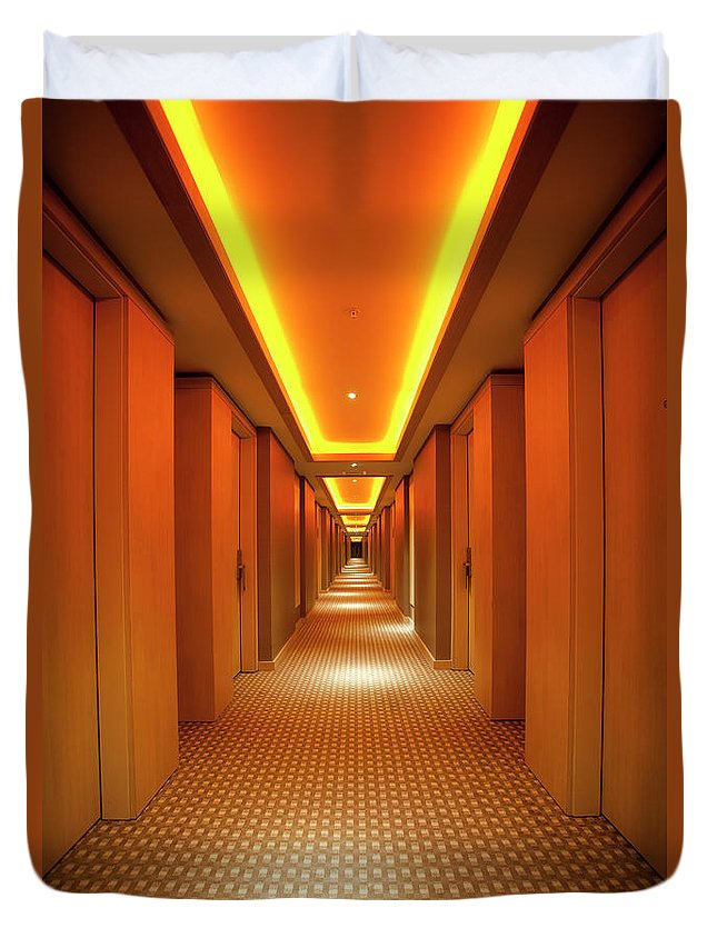 Long Duvet Cover featuring the photograph Long, Narrow Corridor With Retro Themed by Dogayusufdokdok