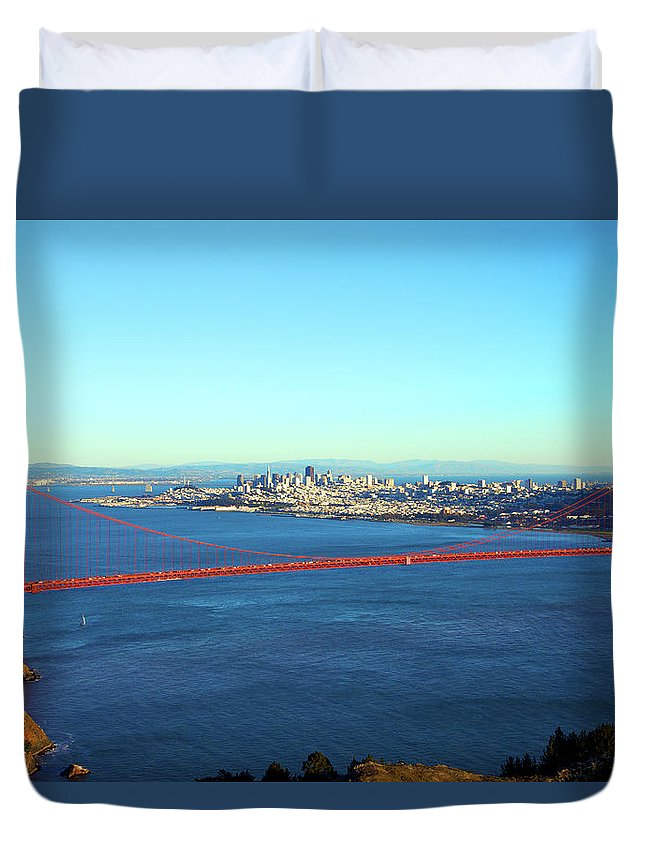 Downtown District Duvet Cover featuring the photograph Looking Down At The San Francisco Bridge by Ekash