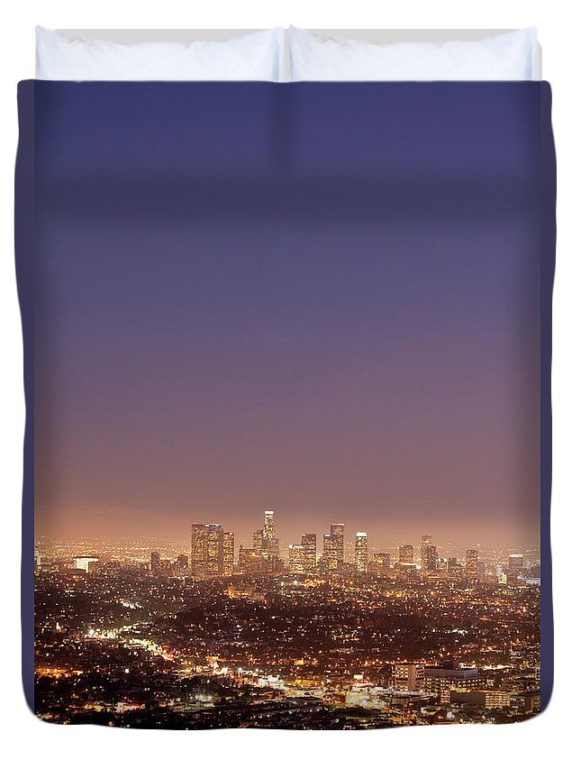 Scenics Duvet Cover featuring the photograph Los Angeles Skyline At Twilight by Uschools