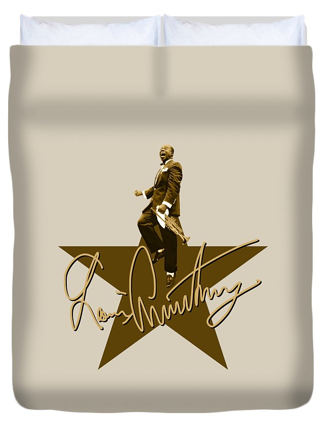 Louis Armstrong Duvet Cover featuring the digital art Louis Armstrong - Signature by David Richardson