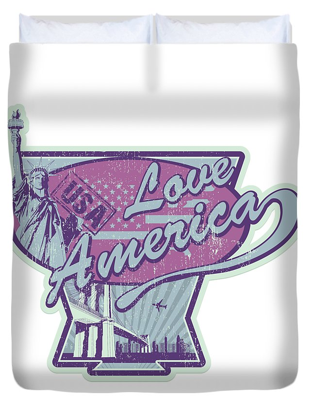 Veterans-day Duvet Cover featuring the digital art Love American Usa Statue Of Liberty by Passion Loft