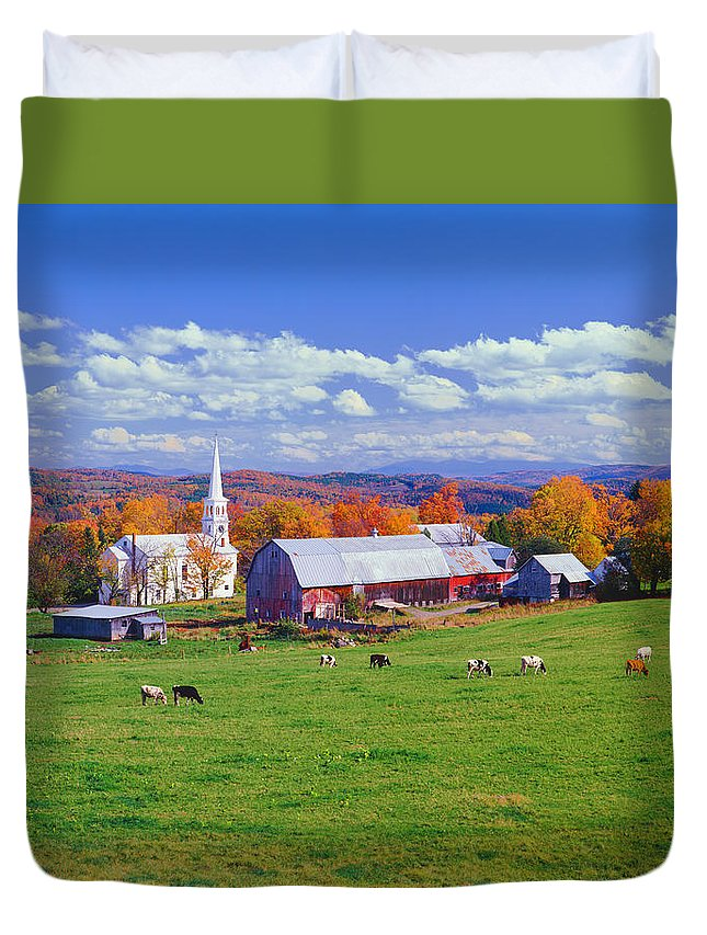 Scenics Duvet Cover featuring the photograph Lush Autumn Countryside In Vermont With by Ron thomas