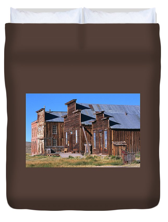 Grass Duvet Cover featuring the photograph Main Street Buildings At Bodie Historic by John Elk Iii