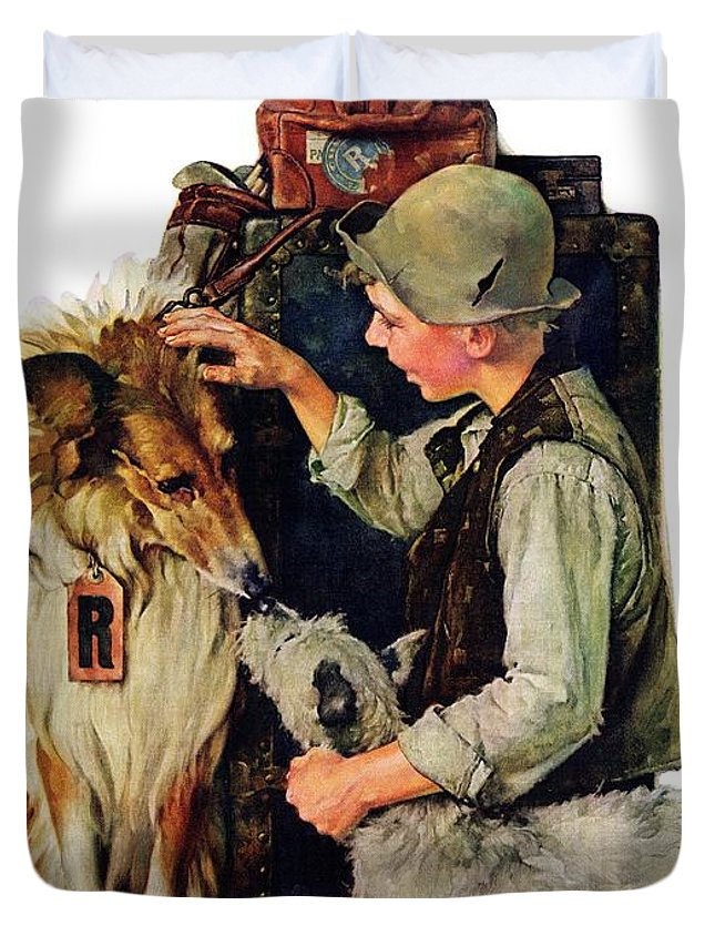 Boy Duvet Cover featuring the drawing Making Friends by Norman Rockwell