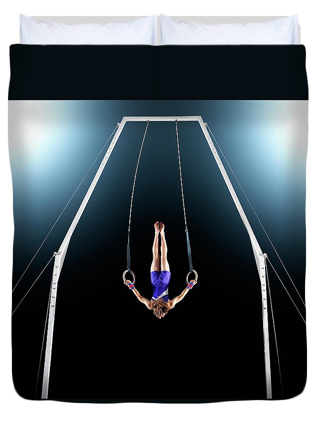 Focus Duvet Cover featuring the photograph Male Gymnast Upside Down Performing On by Robert Decelis Ltd