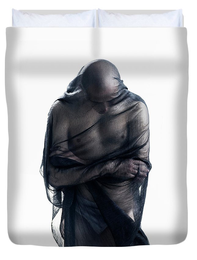 Three Quarter Length Duvet Cover featuring the photograph Man Covered In Black Material by Tara Moore