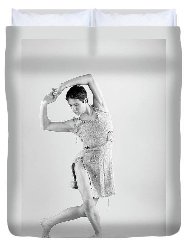 Ballet Dancer Duvet Cover featuring the photograph Man Dance by Oleg66