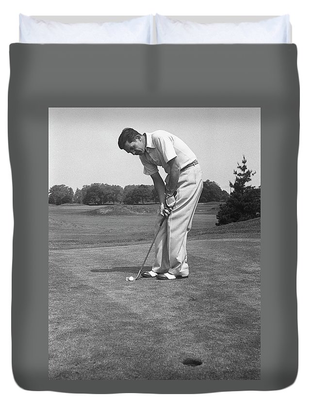 People Duvet Cover featuring the photograph Man Golfing by George Marks
