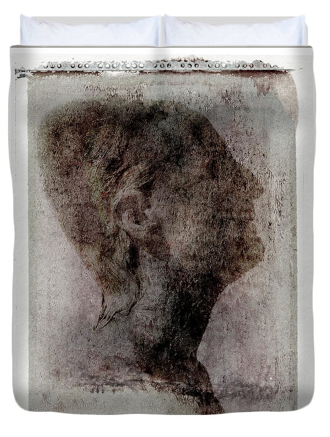Mature Adult Duvet Cover featuring the photograph Man Looking Up, Side View by Win-initiative