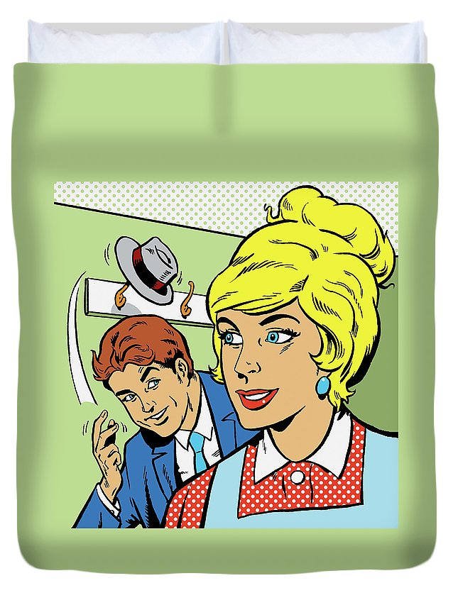Expertise Duvet Cover featuring the digital art Man Showing Off Behind A Woman By by John Richardson