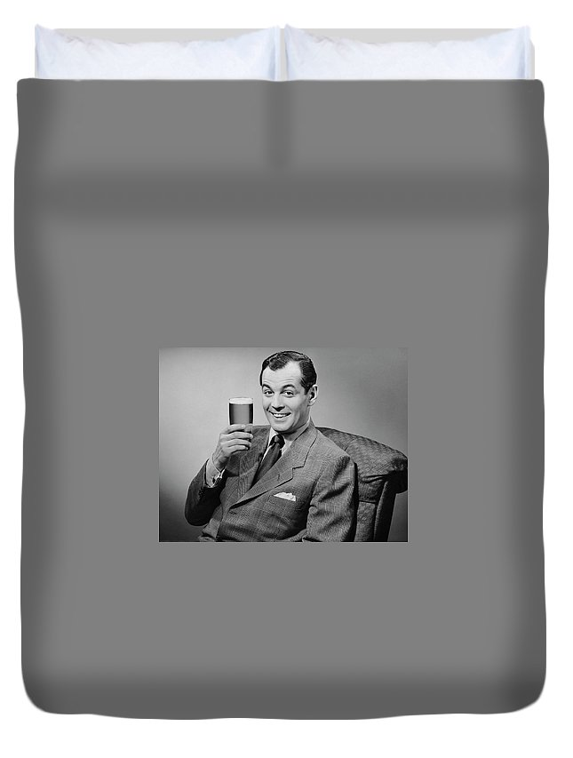 Mature Adult Duvet Cover featuring the photograph Man Sitting & Having A Beer by George Marks
