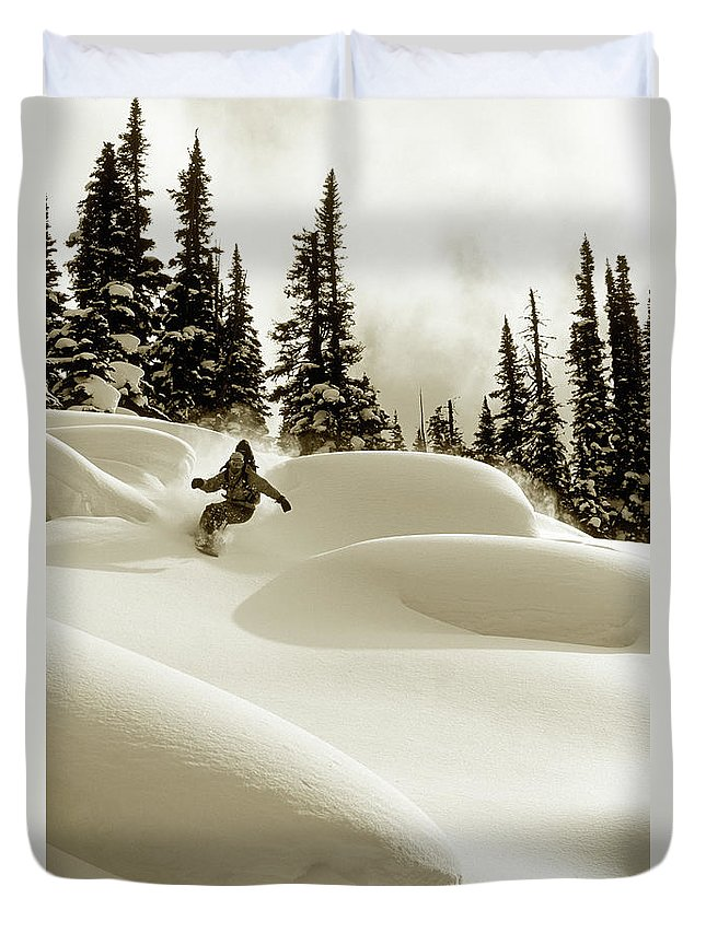 One Man Only Duvet Cover featuring the photograph Man Snowboarding B&w Sepia Tone by Per Breiehagen